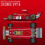 1/12 Maquette en Kit FERRARI 312 B3 1974 model factory hiro  K769